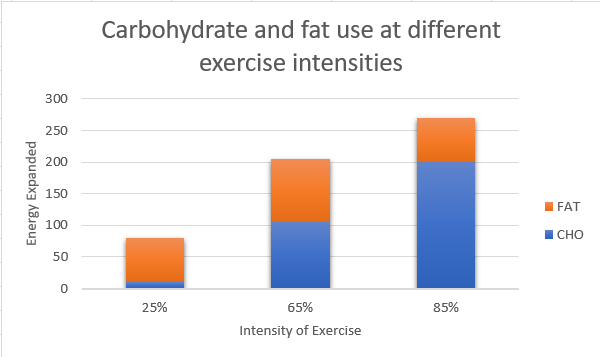 CHO and fat at different intensities